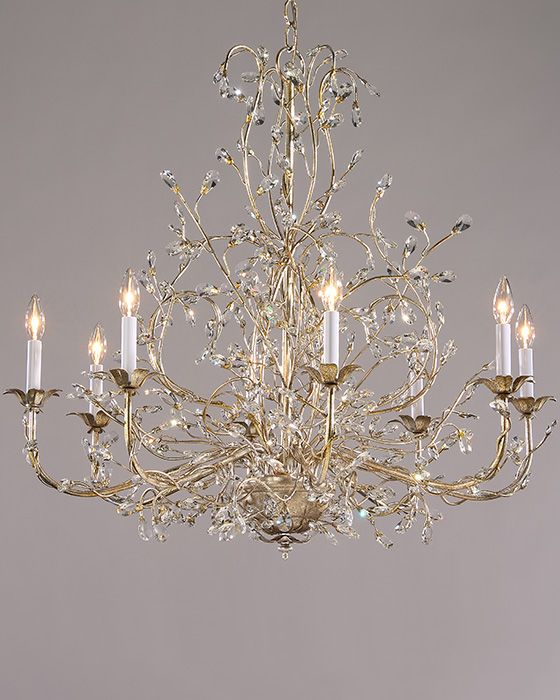 Chandeliers With Swarovski Crystal Drops On A Hand Wrought Iron Frame Antique Silver Leaf Finish 7300