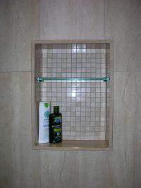 Custom Shower Niche with Glass Shelf, Caledon Tile ...