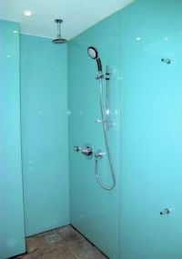Photograph of shower room fitted with Opticolour aqua wall ...