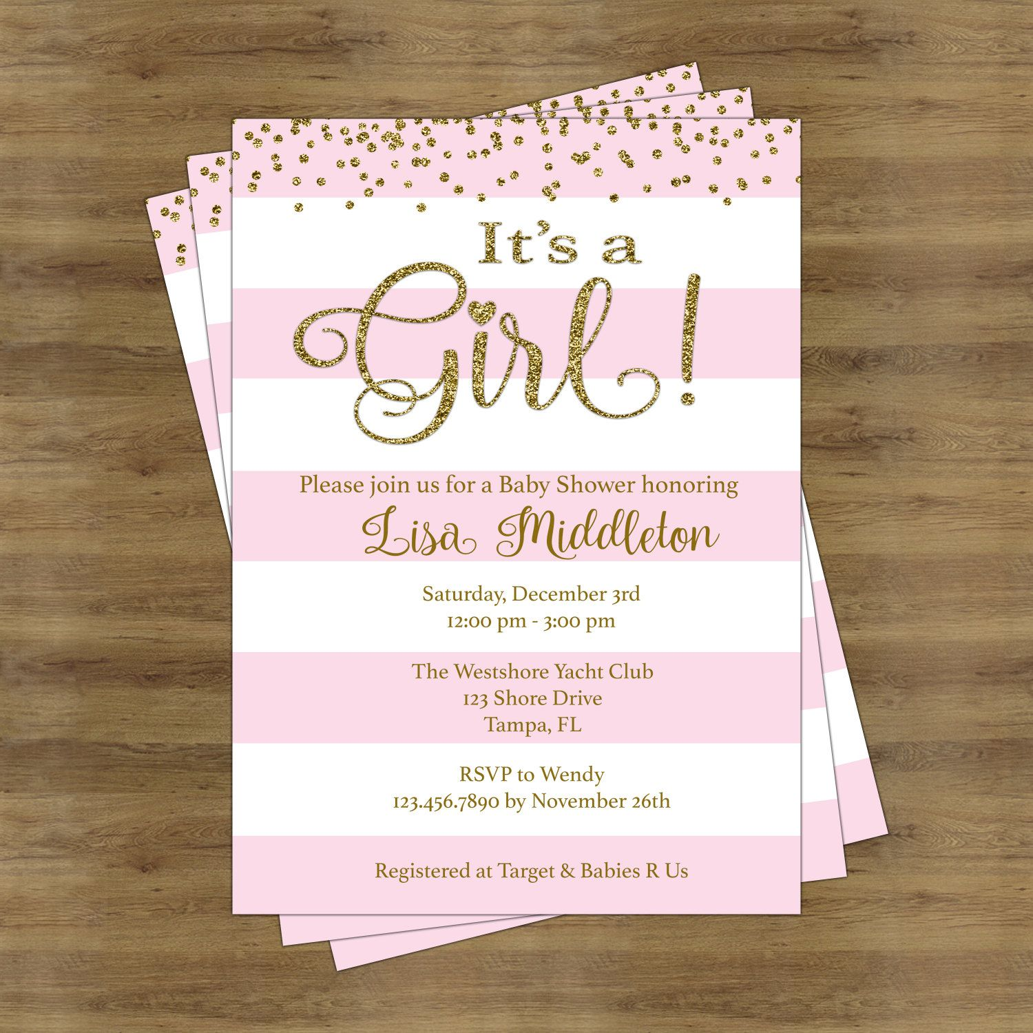 Pink and Gold Baby Shower Invites Its a Girl Baby Shower