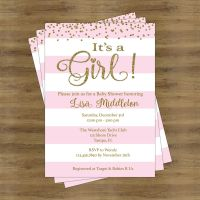 Pink and Gold Baby Shower Invites; Its a Girl Baby Shower