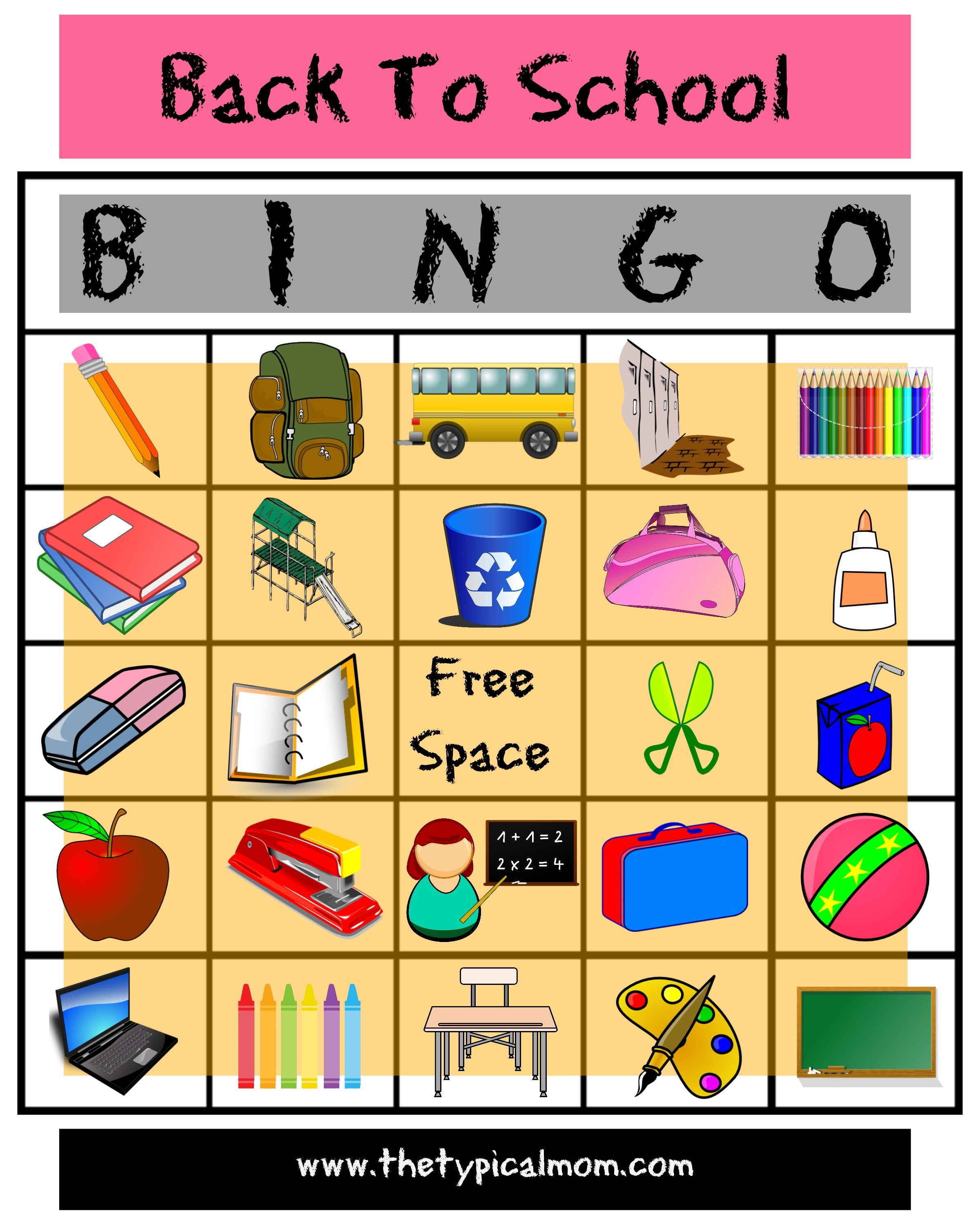 Here S Is An Awesome Free Printable Back To School Bingo