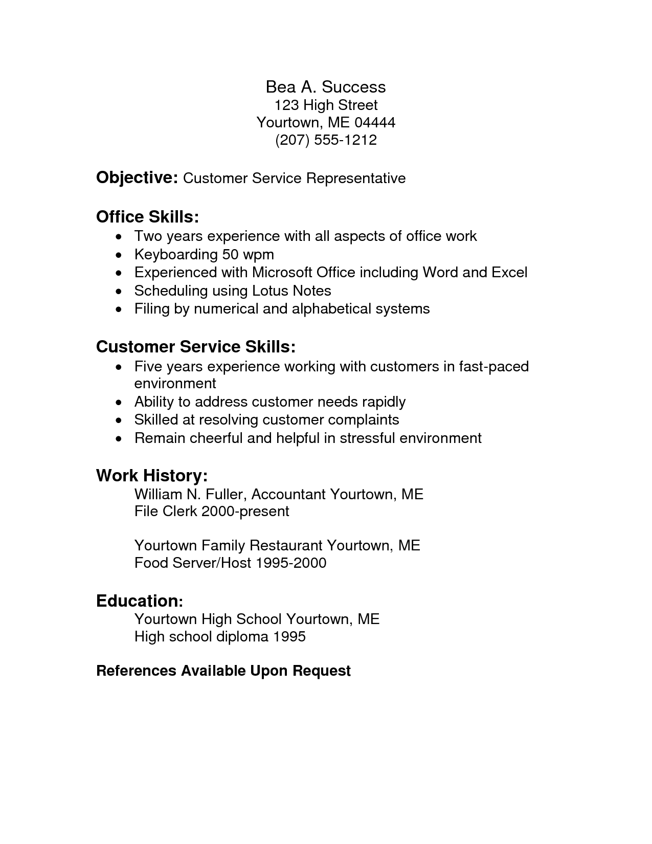 customer service skills for a resume