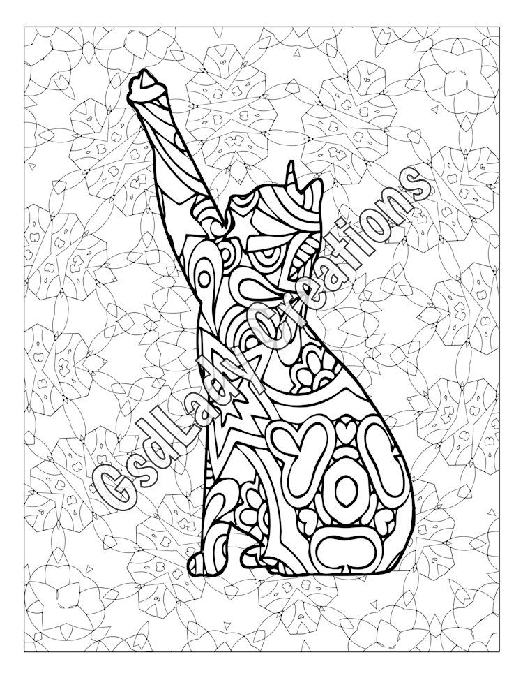 Cat Coloring Page, Adult Coloring Page, Geometric Pattern