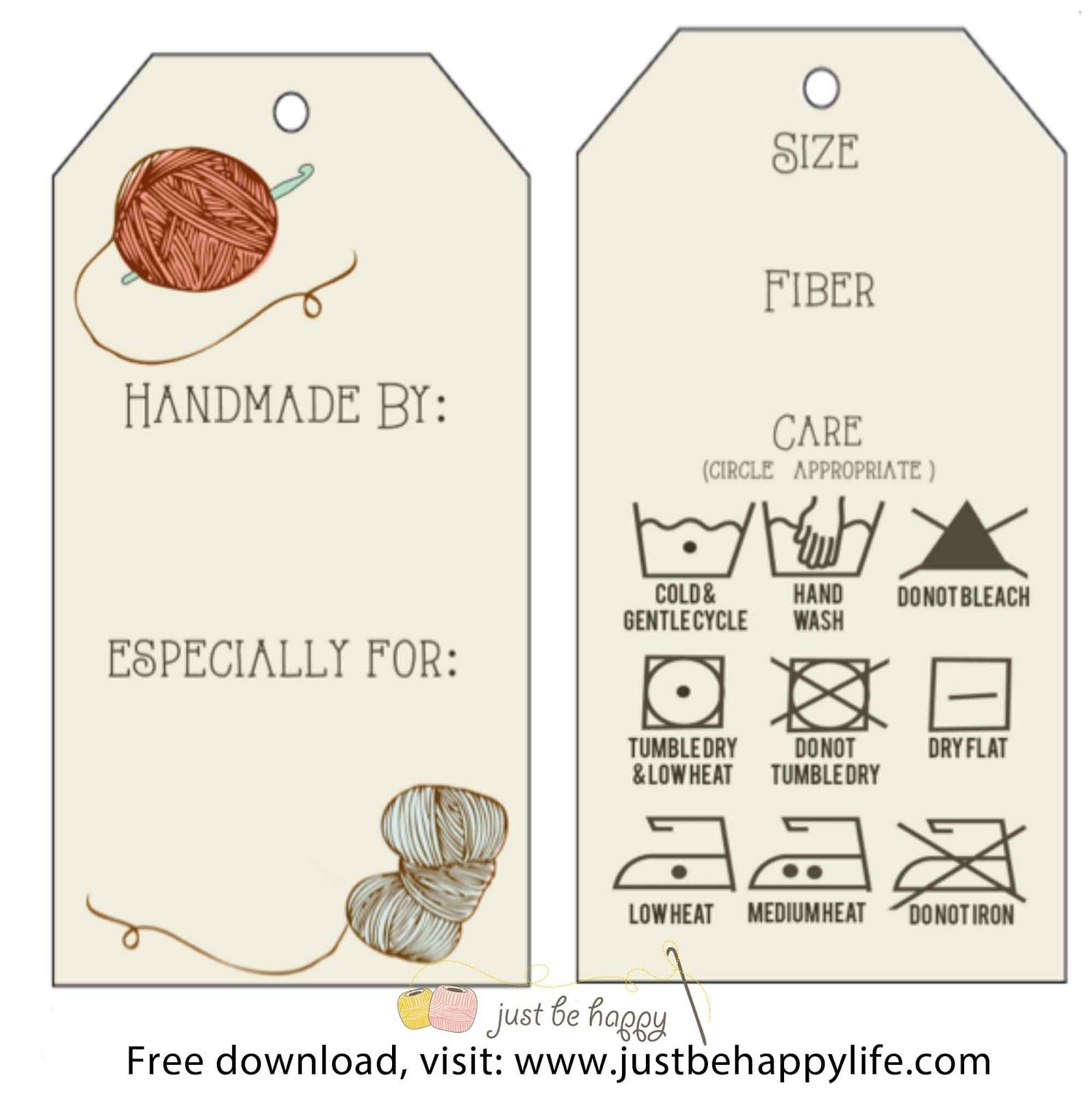 Free T Tag Printables For Your Crocheted Items Justbehappylife