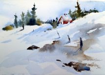 Watercolor Snow Scenes . Of Fall Quarter Brought