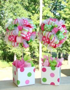For any birthday party baby shower or decoration your home this topiary is covered in hundreds ribbons strawberry shortcake theme and colors also fab topiaries  pinterest ribbon rh