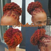 big buns loc bun red locs ombre