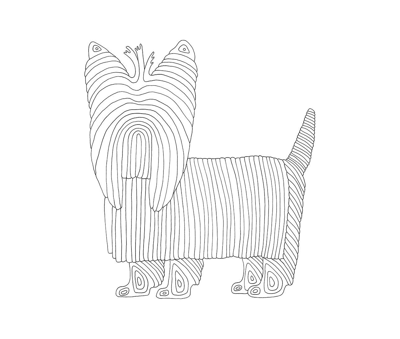 Coloring Page Yorkie Printable Adult Coloring Dog Line Art