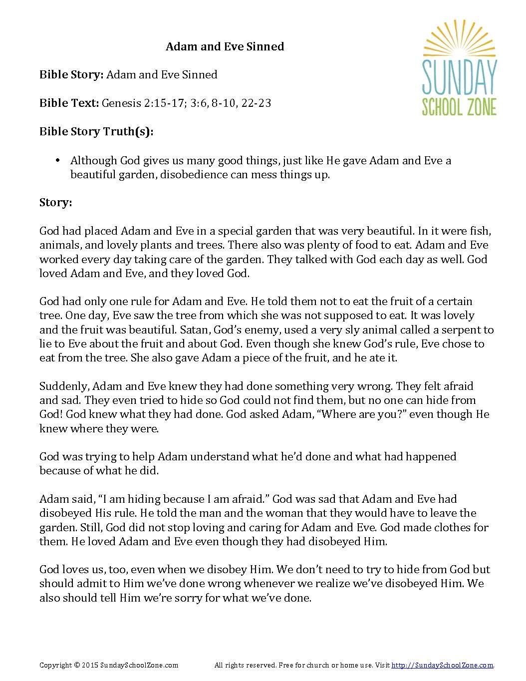Best The Creation Story And Adam Eve Activities Kindergarten Bible Worksheet Best Best Free