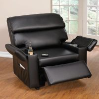 Extra Wide Leather-Look Power-Lift Chair with Storage Arms ...