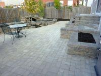 backyard patio | and stone wall backyard water feature ...