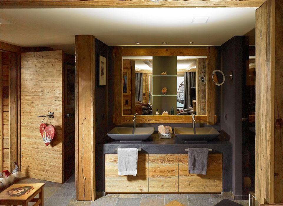 Salle de bain moderne dans une ambiance chalet  Salle de Bain Recupe  Pinterest  Salles de