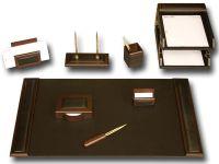 Walnut & Leather 10-Piece Leather Desk Set | Executive ...