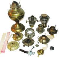Vintage Lot Oil Lamp Parts, Fonts, Burners, Caps, Wicks
