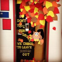 Fall door decoration! Red ribbon week! Don't fall for ...