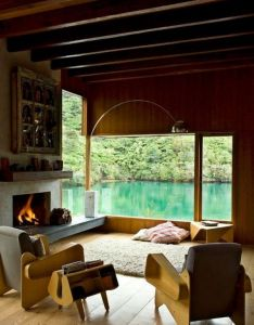 Waterfall bay house new zealand how amazing is this reading  book next to the fire overlooking beautiful lake in also pin by garrincha fernandes on favorite places  spaces pinterest rh