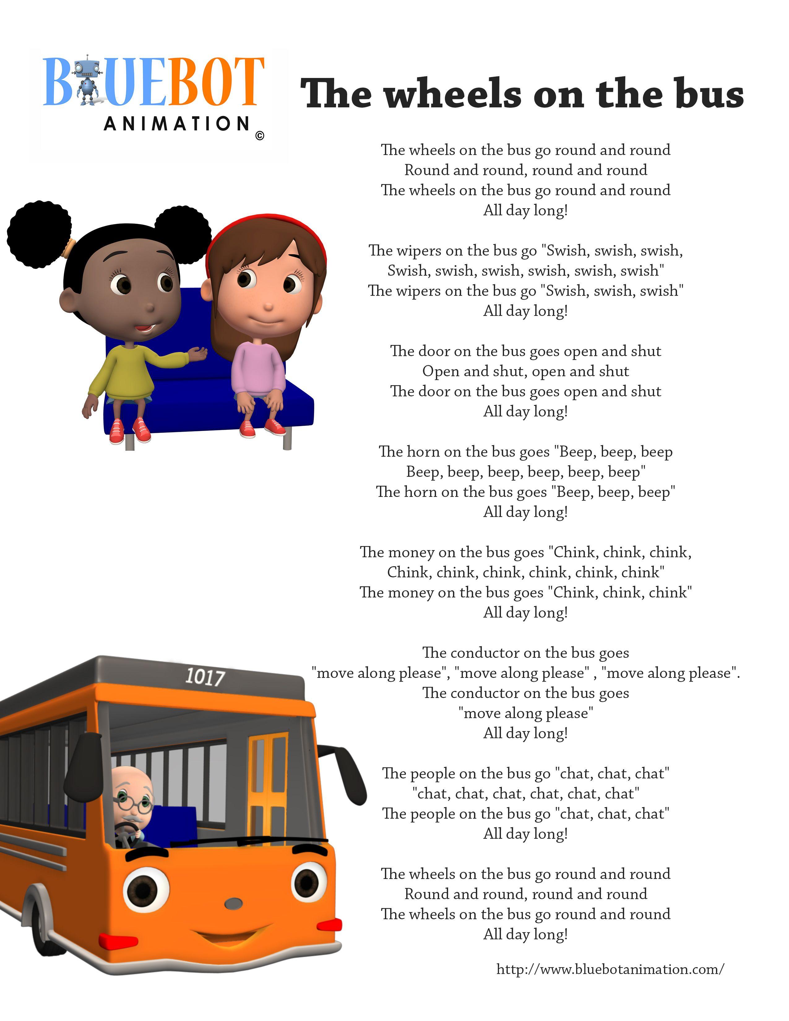 Wheels On The Bus Nursery Rhyme Lyrics Free Printable