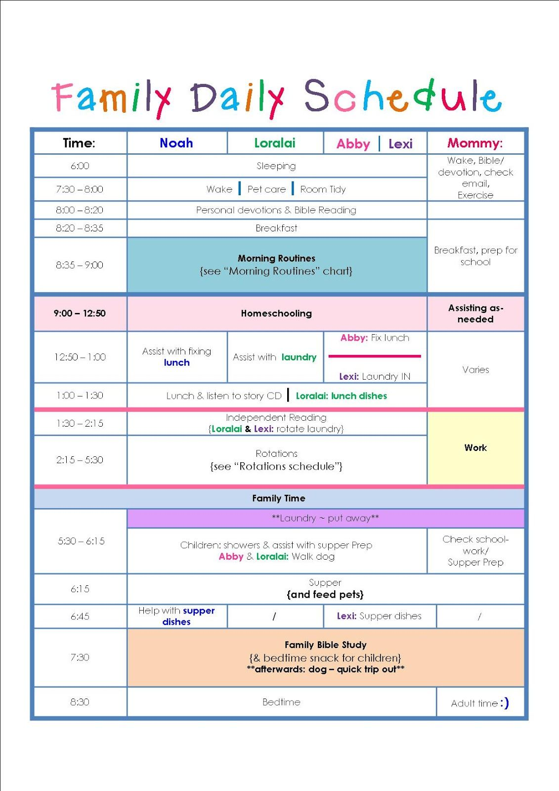 Family Daily Routine Schedule Template