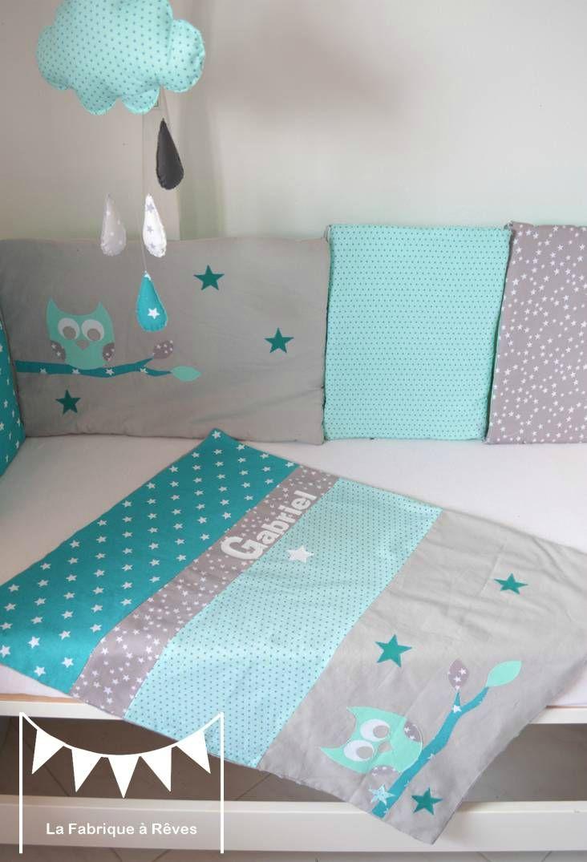 couverture bb turquoise vert deau mint hibou toiles prnom  bb  Pinterest  Couverture