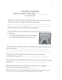 DBT Distress Tolerance - Accepting Reality (Homework ...