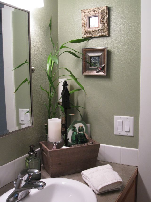 Spa like feel in the guest bathroom The fresh green color makes