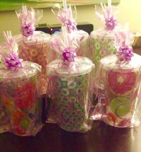 Co-ed baby shower prizes. Cups, bags, bows and plastic ...