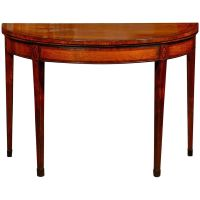 English Sheraton Satinwood Flip-Top Game Table with Inlay ...