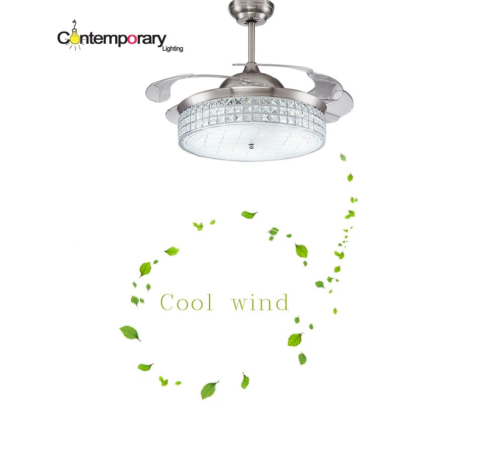 Modern Ceiling Fan Crystal Retractable Blades Remote