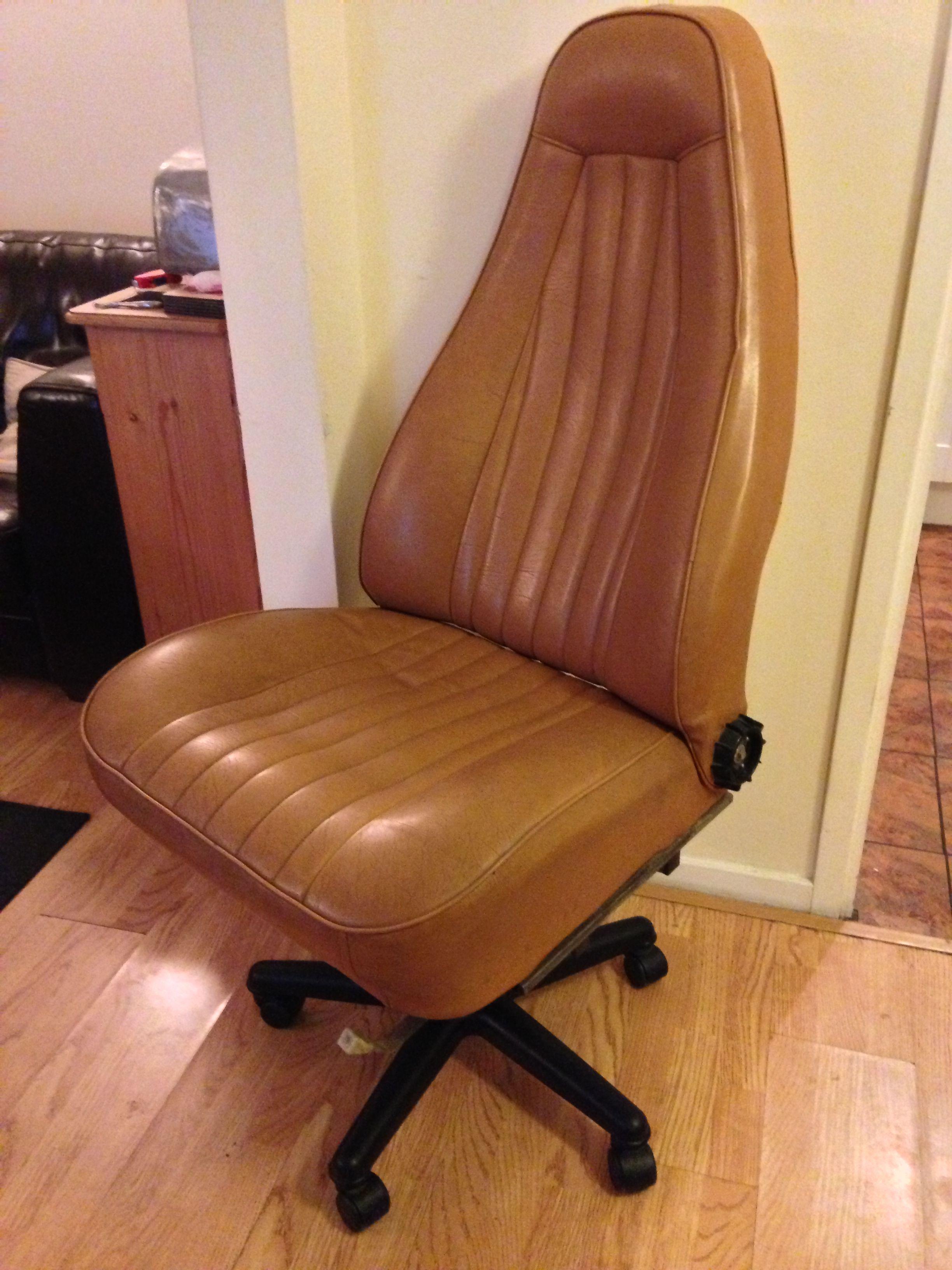 Office chair built from an old Porsche car seat