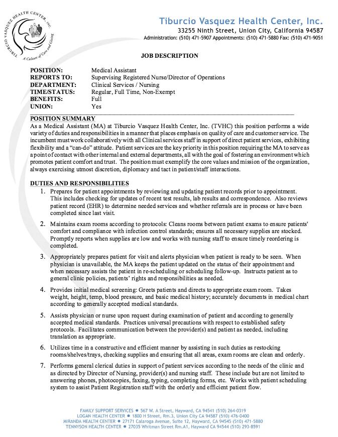 Medical Assistant Job Description Resume Resumesdesign