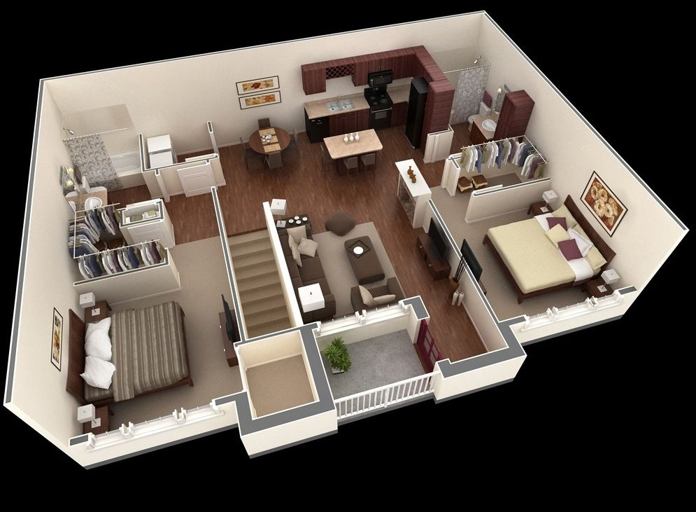 """50 Two """"2"""" Bedroom Apartment House Plans Apartments Bedroom"""