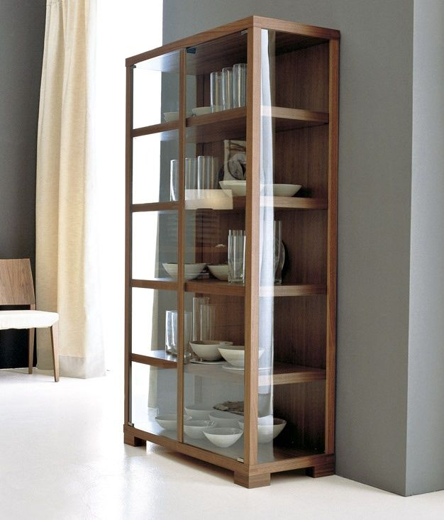 CHINESE ELM WOOD GLASS NARROW TALL DISPLAY CABINET AWK2012