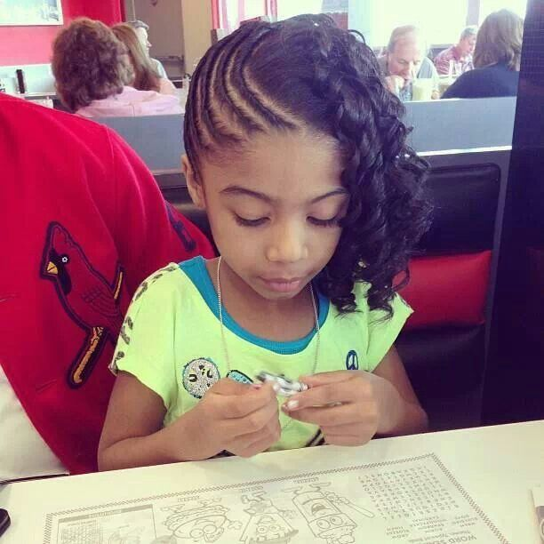 Side Twist Rows With Side Candie Curl Bangs Kid's Hairstyles