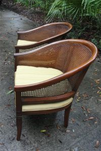 Mid Century Cane Back Barrel Chairs Hollywood Glam 2 ...