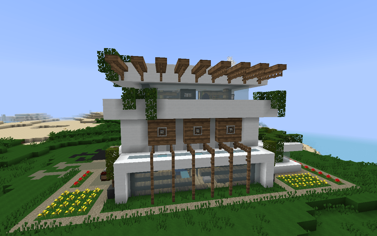 Modern Nature Minecraft House Design Important Wallpapers