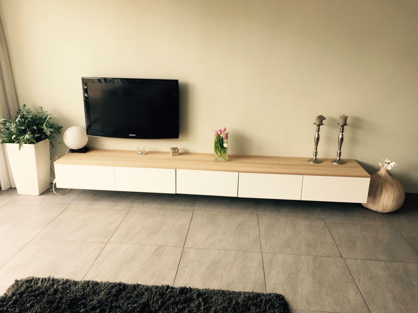 ikea floating cabinet living room images for curtains in tv meubel met eiken houten plank. | besta ...