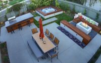 patio design hot tub firepit dining seating