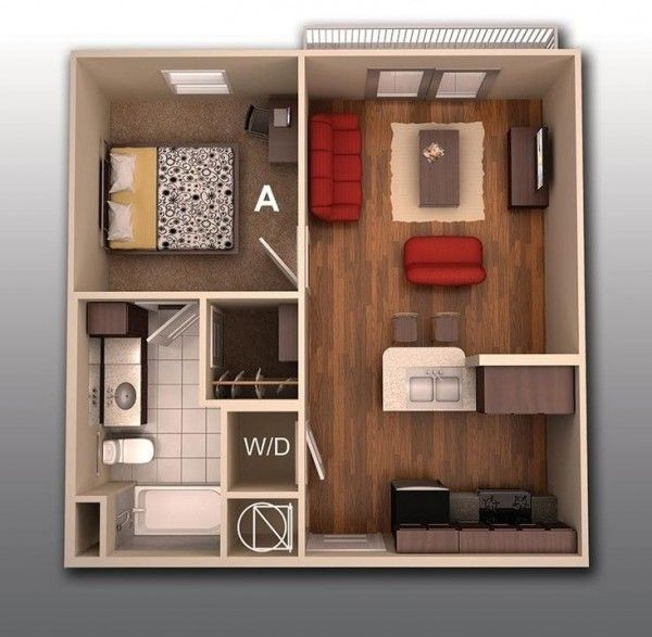 50 Plans En 3D D'appartement Avec 1 Chambres Bedroom Apartment