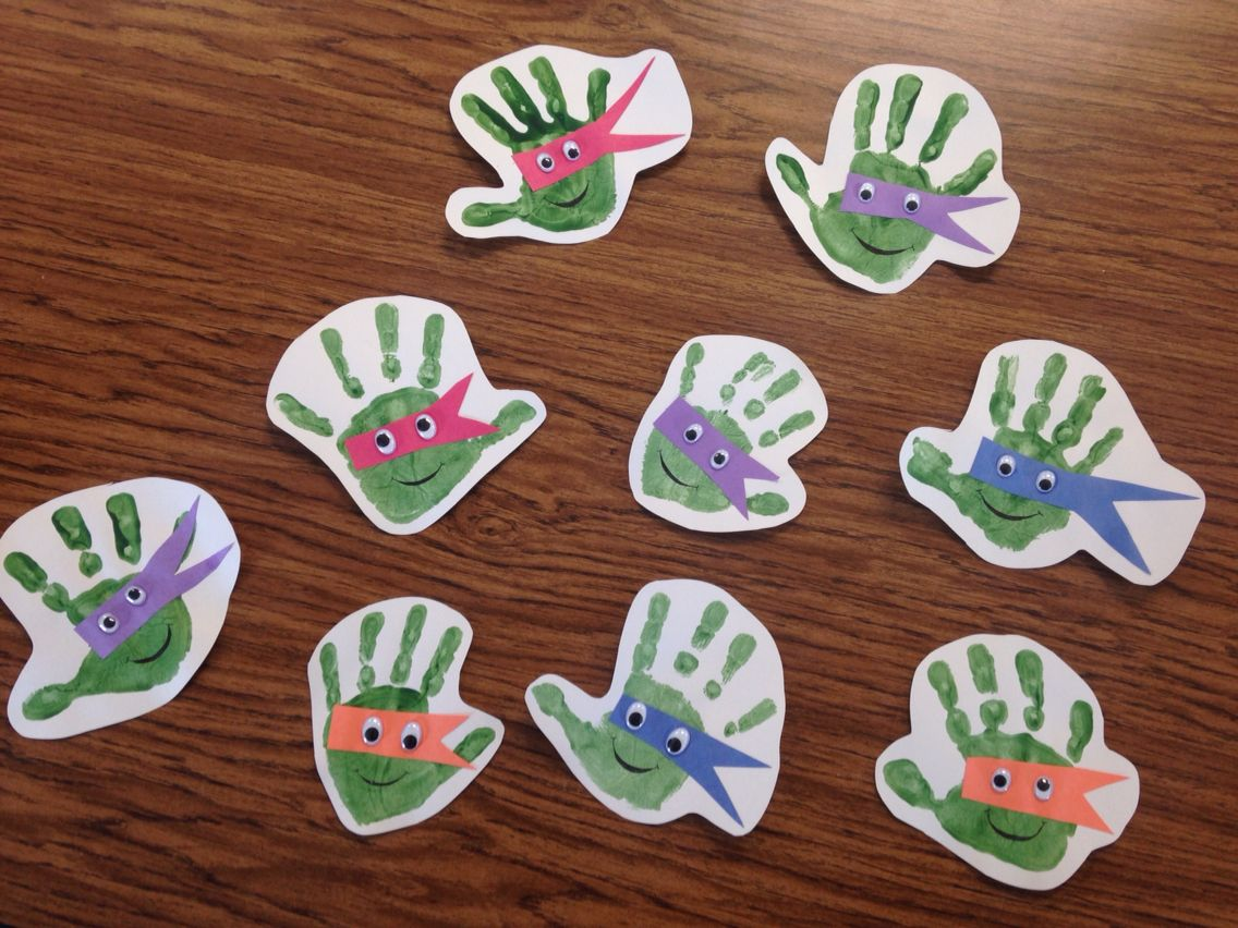 Teenage Mutant Ninja Turtle Preschool Handprint Project