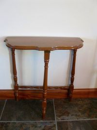 Vintage HALF MOON side table - 3 legged table - small wood ...