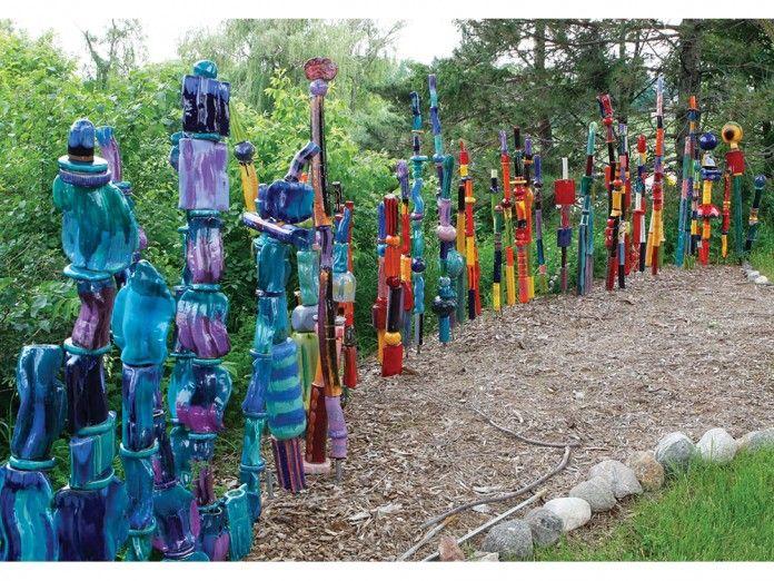 Garden Totems Glass Ceramic Mosaic Wooden DIY Outdoor