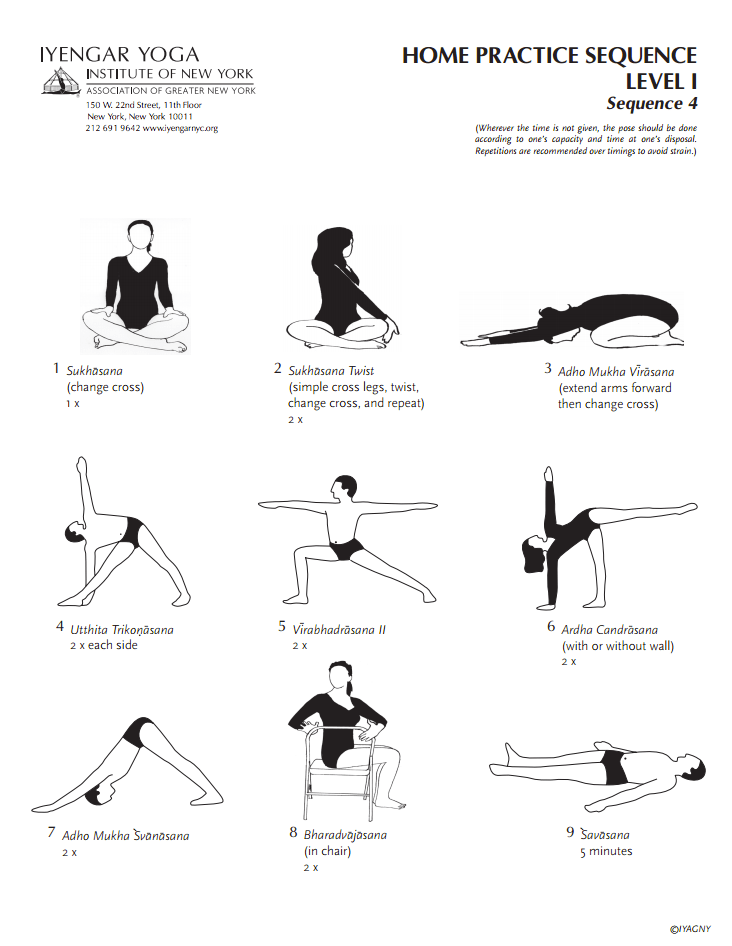 Iyengar Yoga Institute of New York Home Practice Sequence