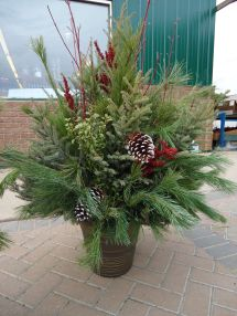 Outdoor Christmas Planter. Looked Good