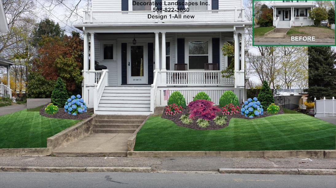 Old Style Colonial Front Bed Landscape Design MA Front Of Home