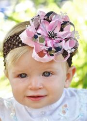 pink camo hair bow.baby bow.infant