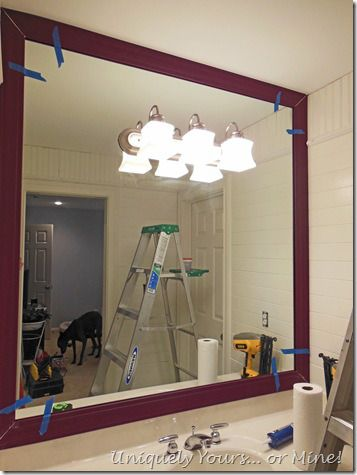 How to install a frame around a bathroom mirror  Bathroom
