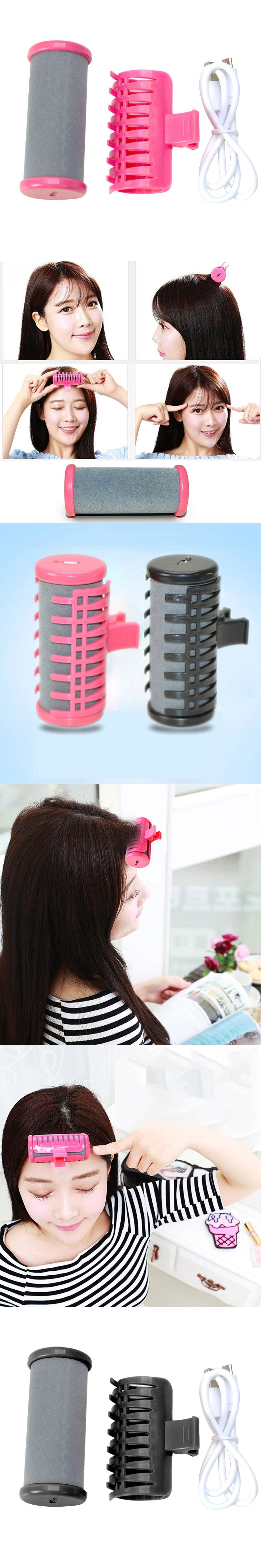 2 Colors DIY Hair Heated Curler Rollers Curling Iron with USB Cable