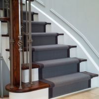 Grey carpet stair runner on dark wood stairs | House ideas ...