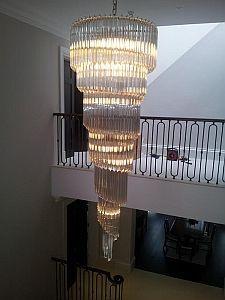 Custom Murano Glass Prism Hallway Chandelier